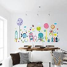 Kmmk Decoración de la habitación de las etiquetas engomadas de la historieta del PVC murales infantiles de pared adhesivos decorativos