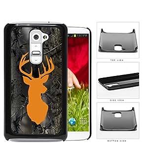 Orange Buck Wood Camo Hard Plastic Snap On Cell Phone Case LG G2