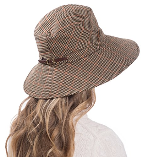 Eric Javits Luxury Fashion Designer Women's Headwear Hat - Rain Floppy - Tan Check by Eric Javits (Image #1)
