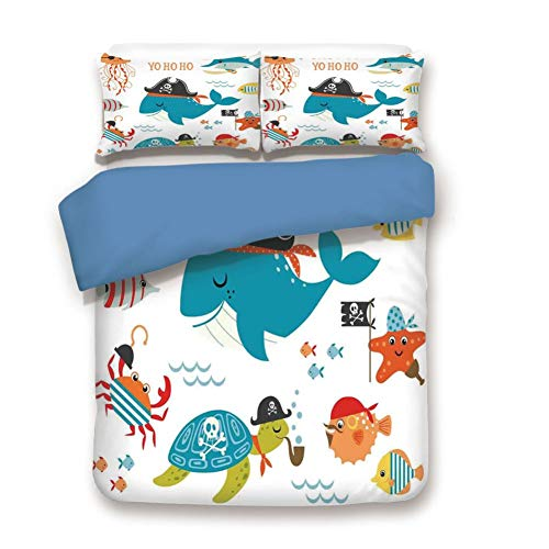(Duvet Cover Set Twin Size, Decorative 3 Piece Bedding Set with 2 Pillow Shams,Ahoy Pirate Whale Turtle Pipe Hook Crab Octopus Captain Starfish Swordfish Nautical Underwater Print)