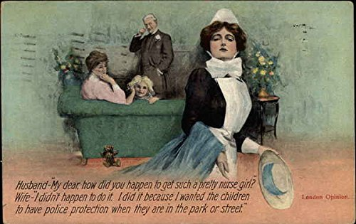 London Opinion about the New Children's Nurse Comic Funny Original Vintage Postcard ()