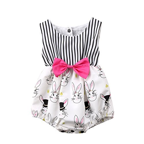 Cute Baby Girl Cartoon Bunny Sleeveless Striped Romper Bodysuit Outfit With Bowknot (0-6 Months)