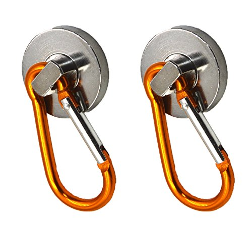 (10L0L (2) Super-Strong Neodymium Magnet Holds 35 Lbs! Carabiner Snap Hook)