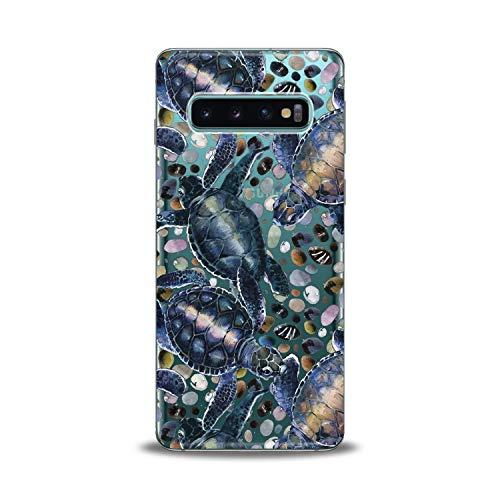 Lex Altern Samsung Galaxy TPU Case J7 MAX Core J6 Plus J4 J3 J2 Prime Clear Phone Cute Cover Turtles Print Protective Animal Drawing Blue Stone Lightweight Design Flex Girl Teen Women Soft Silicone]()