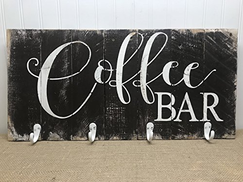 Coffee Bar Reclaimed Wood Pallet Sign Mug Rack 24x11 -