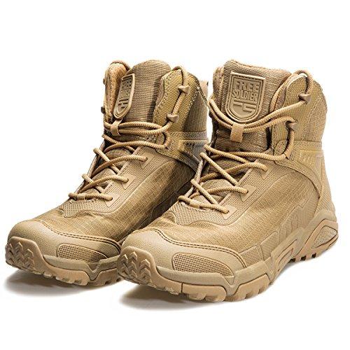 FREE SOLDIER uomo Mid alta stivali militari Durable Army Combat scarpe traspiranti tattico escursionismo Marrone