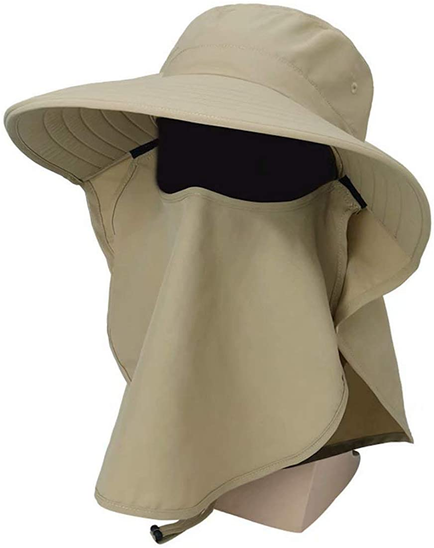 Home Prefer Mens UPF 50+ Sun Protection Hat Wide Brim Fishing Hat with Neck Flap