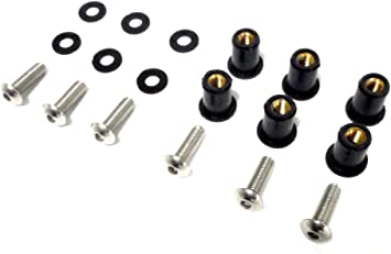 Black Windscreen Windshield Bolt Kit for Harley Davidson Motorcycle Well Nuts Bolts 6-pack