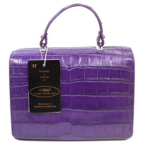 Strap Clutch Crocodile Purple Womens Bag M Authentic Belly Handbag W Purse Skin Xaznwq