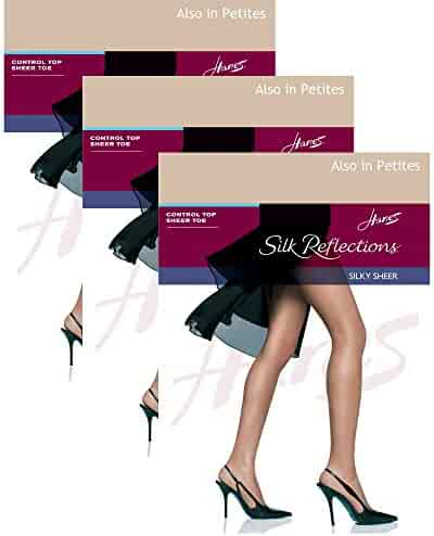 50855433bab Hanes Womens Set of 3 Silk Reflections Control Top Sheer Toe Pantyhose CD