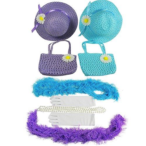Butterfly Twinkles Girls Tea Party Dress Up Set Hats Purses Boas Gloves Necklaces Blue Purple Morgan, Small