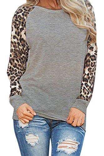 Le Plue Manica Dimensioni Maglietta Tee Gray sopra Sevozimda Lunga Tunica Donne Leopardato Occasionale 4F4dfq