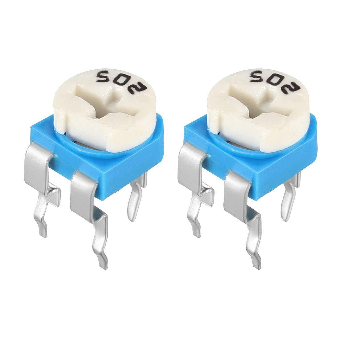 uxcell 50 Pcs 50K Ohm Variable Resistors Top Adjustable Horizontal Cermet Potentiometer