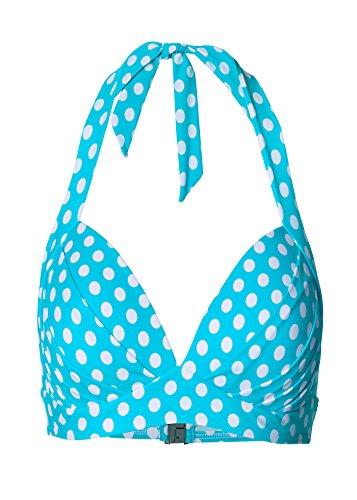 Damen Push-up Bikini Oberteil, 217252 in Türkis/Weiß, Cup C