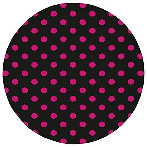 Round Rug Mat Carpet,Hot Pink,Old Fashioned Polka Dots Symmetrical Pattern in Vibrant Color Classical Pop Decorative,Black Hot Pink,Flannel Microfiber Non-slip Soft Absorbent,for Kitchen Floor ()