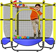 """Asee'm 60"""" Trampoline for Kids 5 FT Indoor & Outdoor Small Trampolines with Basketball Hoop for K"""