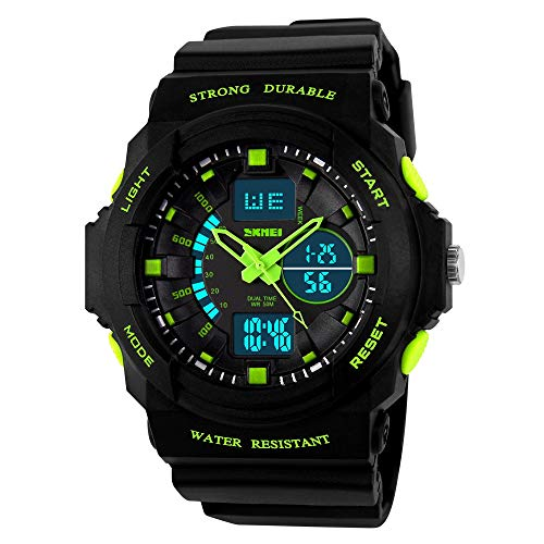 (Kids Digital/Analog Watches Waterproof Sports Multi-Functional Wristwatch with Alarm and LED Light Children Wristwatches for Boys/Girls (Green(Analog&Digital)))