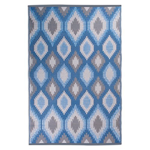 DII Contemporary Indoor/Outdoor Lightweight, Reversible, & Fade Resistant Area Rug, Use For Patio, Deck, Garage, Picnic, Beach, Camping, BBQ, Or Everyday Use - 4 x 6', Blue Ikat from DII