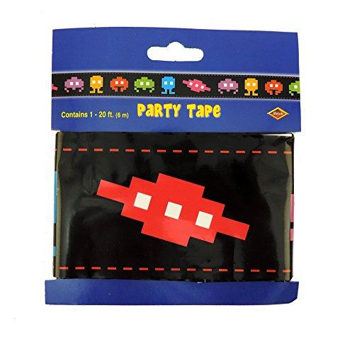 Novelty 20FT Party Tape 8 Bit Retro Pixels Decoration -