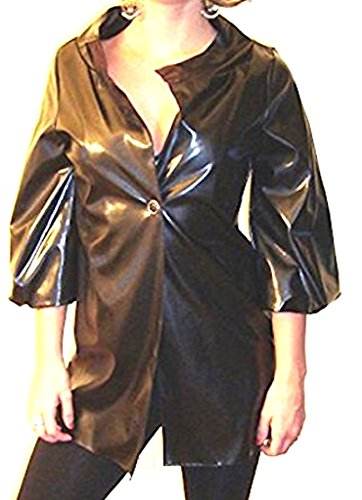 - Star-Studded Crop Sleeve Faux Patent Leather Trench (s) Black