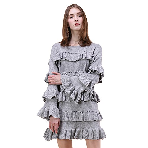 cable knit tiered sweater dress - 4