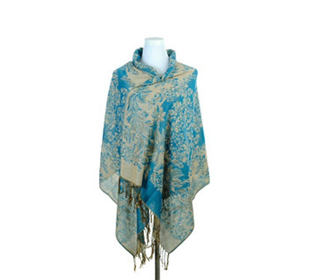 Womens Ladies Girls Winter Large Pashmina Paisley Jacquard Scarf Shawl Wrap Blue erioctry
