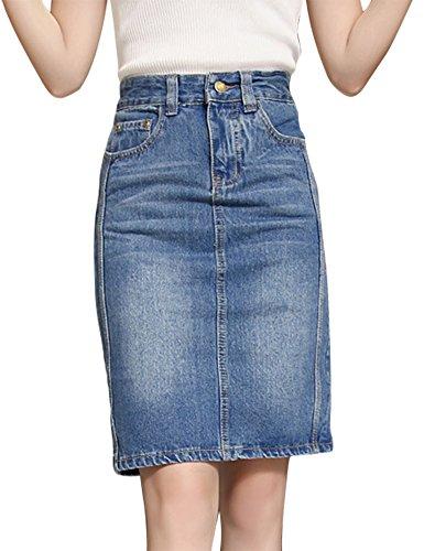 IDEALSANXUN Women's Slim High Waist Pencil Denim Skirt Short (#1 Light Blue, (New High Waist Denim Pencil Skirt)