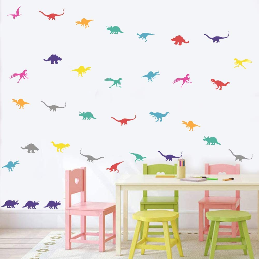 IARTTOP Colorful Dinosaur Sticker (98pcs), Adorable Dinosaurs Wall Decal for Kids Room Nursery Decor, Lovely Animal Theme Party Decoration