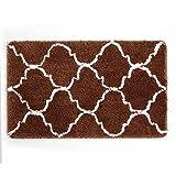 "Uphome Geometric Series Moroccan Microfiber Bathroom Shower Accent Rug - Non-Slip Soft Absorbent Decorative Bathroom Floor Mat Carpet (32"" L x 20"" W, Coffee)"