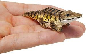 "Crocodile / Alligator - Small 2"" Wooden Figurine - Gator Lizard Reptile Amphibian Carving Hand-Made Decoration Miniature Animals Woodwork"