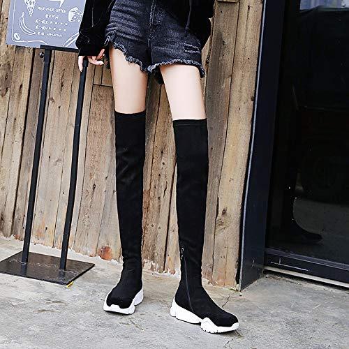 TSNMNB Botas de Viento Deportivo Femenino Sobre la Rodilla Estudiantes Zapatos de Invierno Botas de Mujer Coreana Primavera y otoño Solo Botas elásticas Negro y terciopelo
