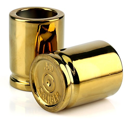 Caliber Gourmet 50 Caliber Shot Glasses - Set of 2, Gold