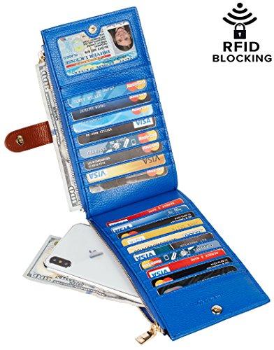Chelmon Womens Genuine Leather Wallet RFID Blocking Credit Card Holder Zipper Purse(isabella blue) - Bag Credit Card Wallet Holder