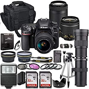 Nikon D7500 DSLR Camera with AF-P 18-55mm VR Lens & Nikon AF-P 70-300mm ED Lens Bundle + 420-800mm MF Zoom Telephoto…