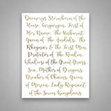 Daenerys Stormborn - Gold Foil Art Print- Inspirational Quote Modern Wall Art - 8 inches x 10 inches