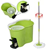 MasterPanel - Microfiber Spinning Mop Easy Floor Mop W/Bucket 2 Heads 360 Rotating Head Green #TP3336