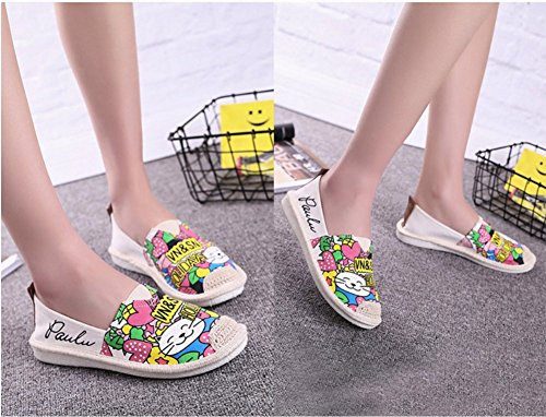 D-sun Filles Glitter Slip-on Casual Appartements Confort Toile Loisirs Mocassins Chaussures Beige Feuille
