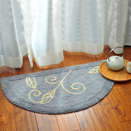 Door semicircular cushions bedroom door mats sanitary absorbent mats bathroom mats -5080cm Gray by ZYZX