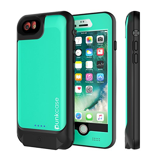 Punkjuice iPhone 8/7/6s/6 Battery Case - Waterproof Slim Portable Power Juice Bank W/ 3000mAh High Capacity - Fastcharging - 120% Extra Battery Life for Apple iPhone 6/6s/7/8 (Teal) by punkcase