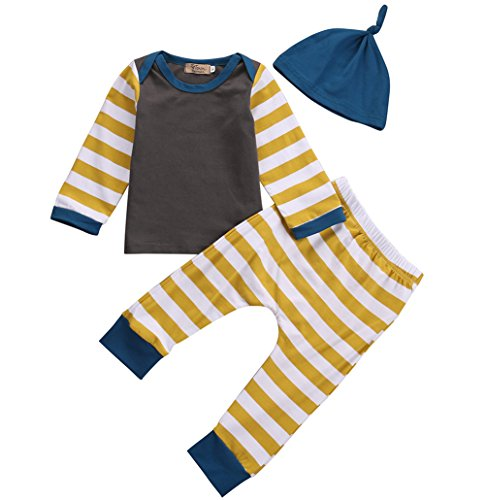 Baby Boys Infant Striped Long Sleeve Top with Leggings and Hat 3pcs Outfits Set