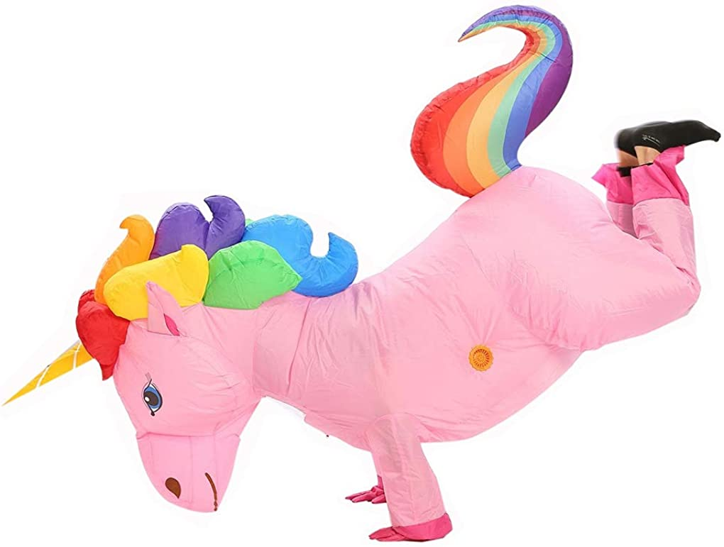 Adult Unisex Inflatable Rainbow Unicorn Costume Halloween Party Costumes Air Blow UP Suits