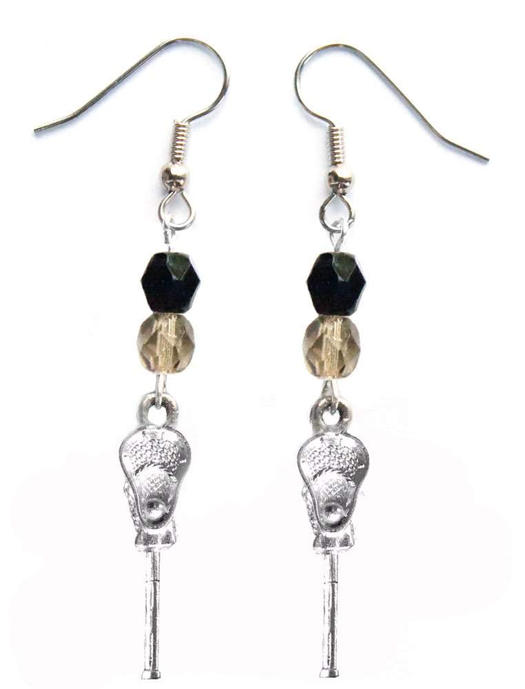 ''Lacrosse Stick & Ball'' Lacrosse Earrings (Team Colors Black & Grey)