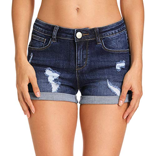 Hocaies Damen Jeansshorts Basic in Aged-Waschung Jeans Bermuda-Shorts Kurze Hosen aus Denim für den Damen High Waist Denim Kurze Hose mit Quaste Ripped Loch Hotpants Shorts (42, 03 Dunkel Blau)