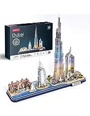 CubicFun 3D Puzzle LED Dubai Architecture Model Kit voor kinderen en volwassenen, Atlantis The Palm Dubai, Burj al Arab Jumeirah Hotel, Burj Khalifa, Emirates Towers, 182 stuks