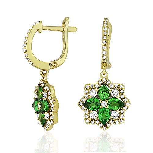 14K Yellow Gold Pear Shape Green Garnet and Diamond Lever-Back Dangle Earrings
