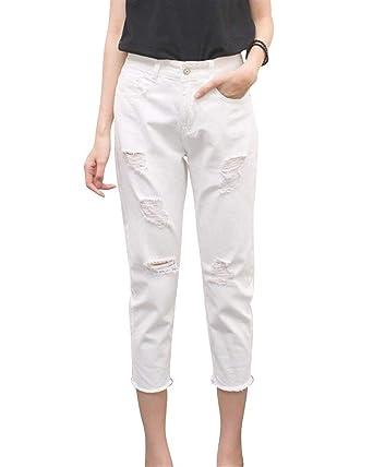 Slim Fit Boyfriend Jeans Pantalones Capri Mujer con Ropa De ...