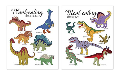 11x14 Dino Wall Art - Set of 2 Jurassic Art Prints Posters // For Classroom // For kids - Baby Nursery Room Decor // Party Decoration // Cute Dinosaur Pictures // Dino Themed Gifts // Birthday
