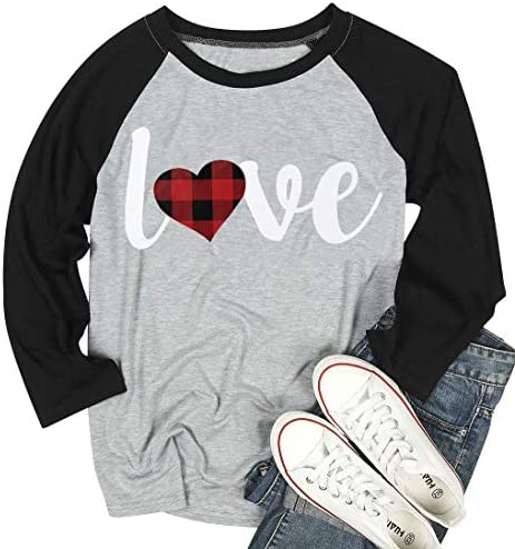 Love Shirt Valentine's Day Baseball T Shirt for Women Plaid Love Heart Graphic Tee 3/4 Sleeve Raglan Tops Blouse