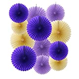 Ipalmay 12PCS Assorted Colors Hanging Tissue Paper Fans for Weeding Birthday Party Decorations(14'', 10'', Purple, Lavender, Ivory)
