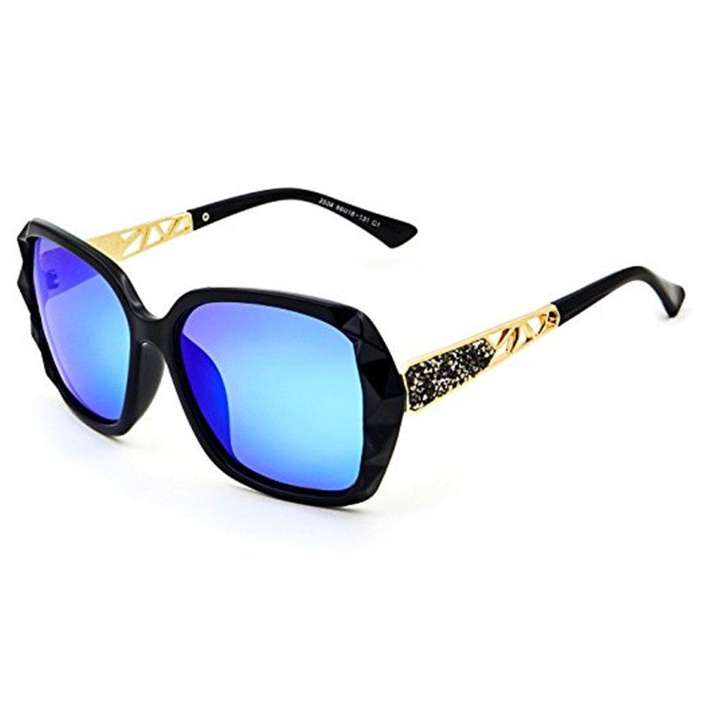 2018レディースクラシックオーバーサイズ偏光サングラスファッションモダンシェード100 % UV保護  ブラック/ブルー B07BF712BW